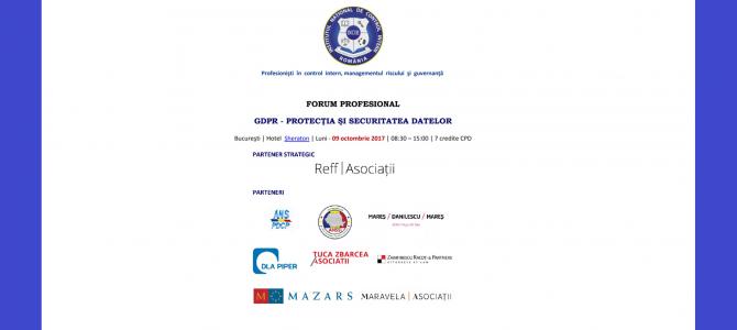 """9 octombrie: ANSSI la Forumul Profesional """"GDPR – Protectia si Securitatea Datelor"""" organizat de Institutul National de Control Intern din Romania"""